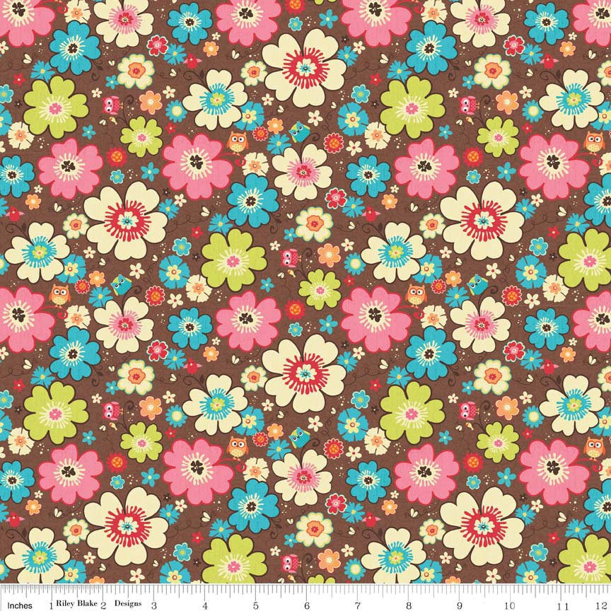 SALE Happy Flappers Main Brown - Riley Blake Designs - Flowers Owl - Jersey KNIT cotton lycra spandex stretch fabric - choose your cut