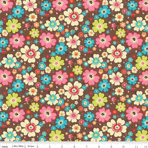 CLEARANCE Happy Flappers Main Brown - Riley Blake Designs - Flowers Owl - Jersey KNIT cotton lycra spandex stretch fabric - by the yard