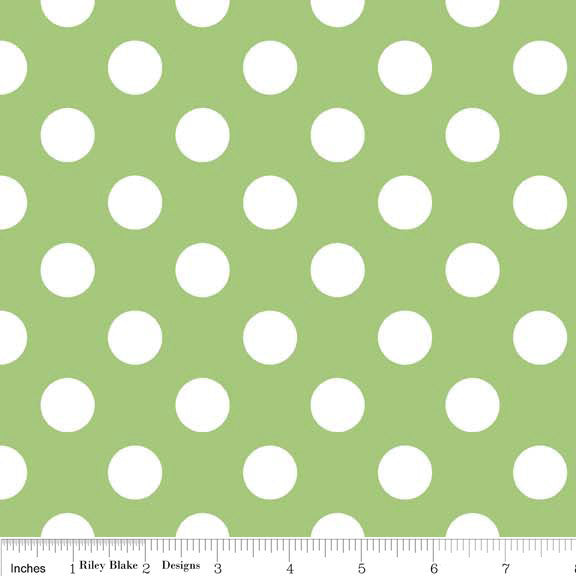 "SALE White Medium Dots on Green 3/4"" Three Quarter Inch - Riley Blake Designs- Polka Dots - Quilting Cotton Fabric"