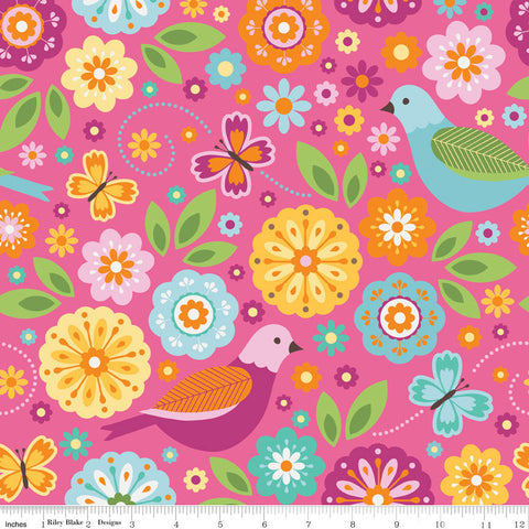 Summer Song 2 Main Pink by Riley Blake Designs - Birds Floral Flowers - Cotton FLANNEL Fabric - fat quarter