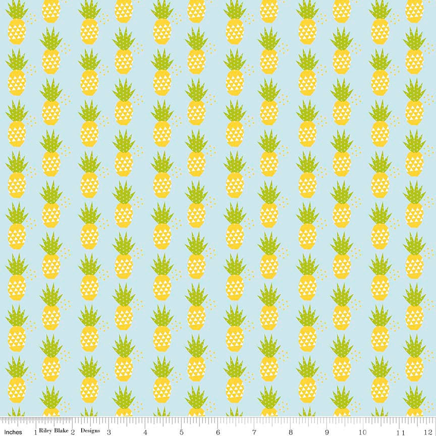 Fresh Market Pineapple Blue by Riley Blake Designs - Fruit - Quilting Cotton Fabric - end of bolt pieces