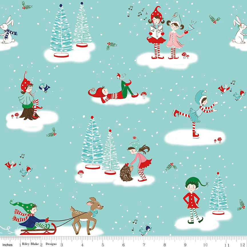 Pixie Noel Main Aqua by Riley Blake Designs - Blue Christmas Trees Skating - Quilting Cotton Fabric - choose your cut