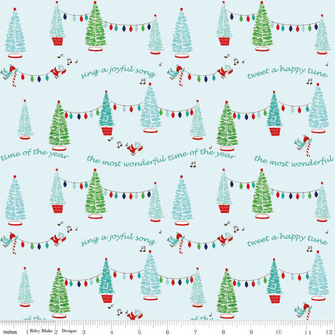 Pixie Noel Trees Aqua by Riley Blake Designs - Blue Christmas Trees Lights - Quilting Cotton Fabric - choose your cut