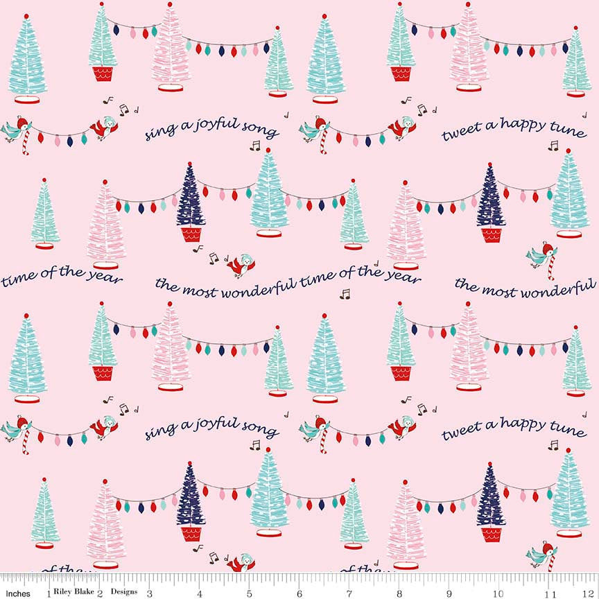 SALE Pixie Noel Trees Pink by Riley Blake Designs - Christmas Trees Lights - Quilting Cotton Fabric - by the yard