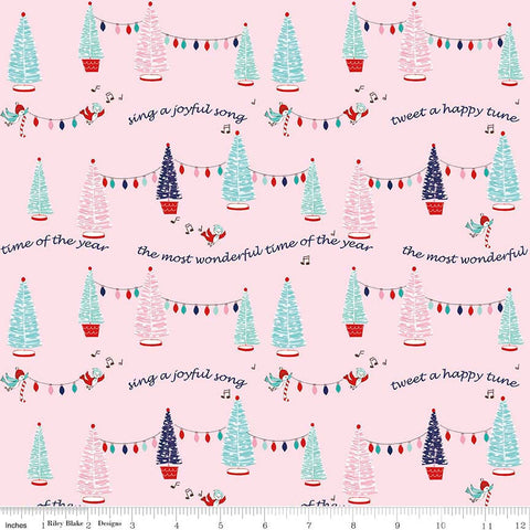 SALE Pixie Noel Trees Pink by Riley Blake Designs - Christmas Trees Lights - Quilting Cotton Fabric - end of bolt pieces