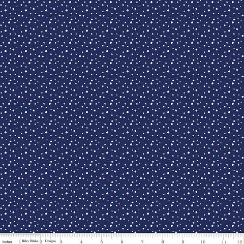 Pixie Noel Snow Navy by Riley Blake Designs - Christmas Polka Dot Blue - Quilting Cotton Fabric - choose your cut