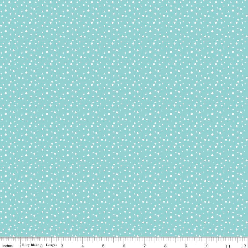 Pixie Noel Snow Aqua by Riley Blake Designs - Blue Christmas Polka Dot - Quilting Cotton Fabric - choose your cut