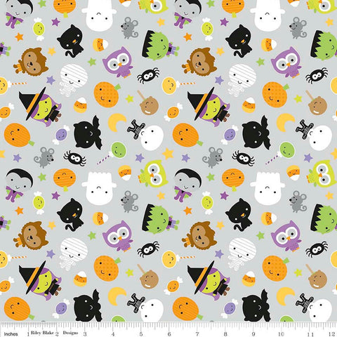 SALE Ghouls and Goodies Main Gray by Riley Blake Designs - Halloween - Jersey KNIT cotton lycra stretch fabric - Fat Half end of bolt piece