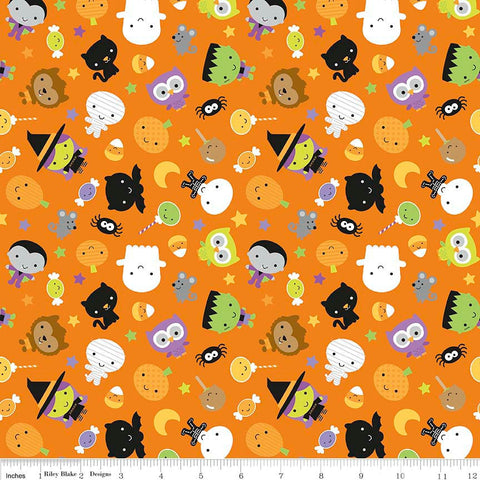 SALE Ghouls and Goodies Main Orange - Riley Blake Designs - Halloween - Jersey KNIT cotton lycra stretch fabric - by the yard half quarter