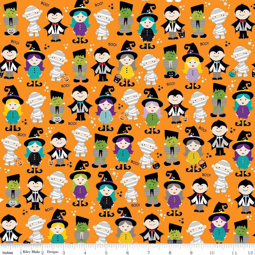 SALE Halloween Magic Parade Orange - Riley Blake Designs - Witch Mummy Vampire - Quilting Cotton Fabric - choose your cut