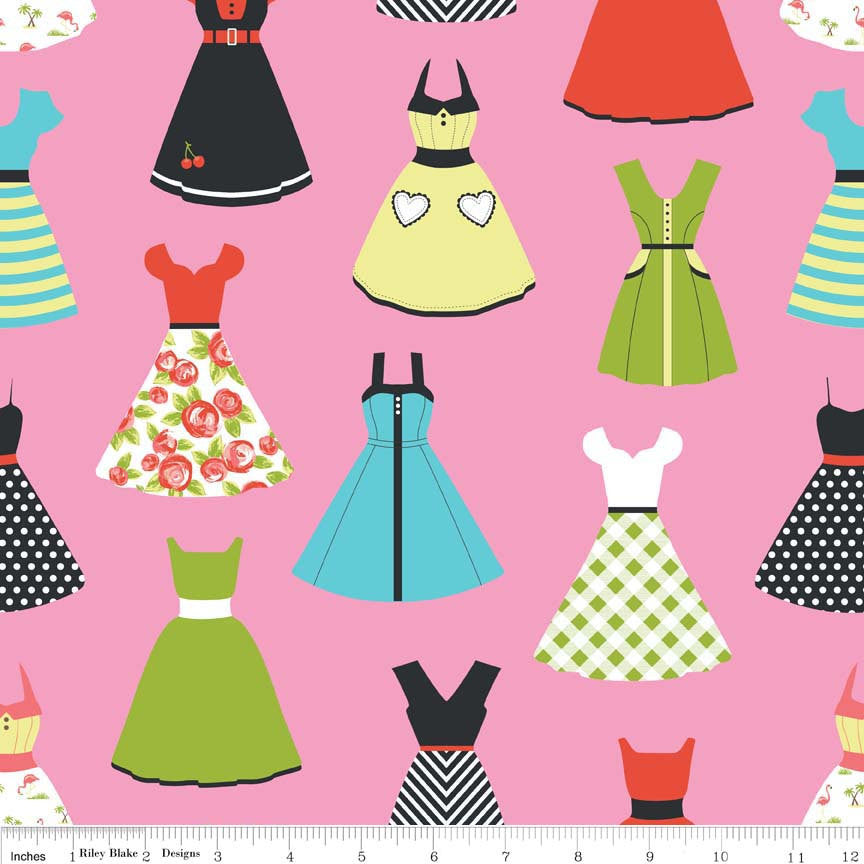 Novelty Dresses Pink - Riley Blake Designs - Clothing Women Fashion - Quilting Cotton Fabric