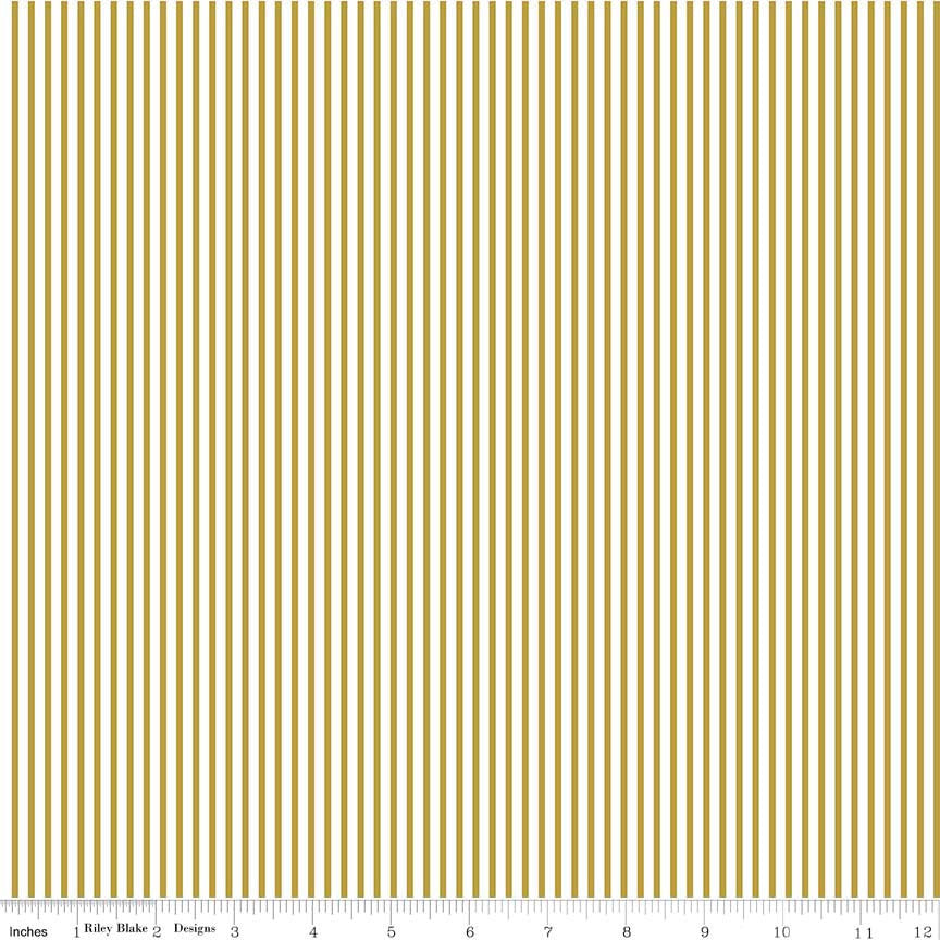 SALE Small Stripe SPARKLE Gold by Riley Blake Designs - Metallic White Pin Stripe - Quilting Cotton Fabric