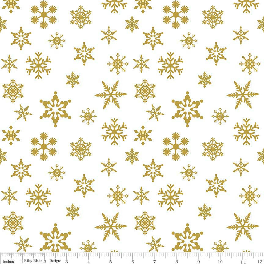 Snowflake SPARKLE gold by Riley Blake Designs - Snow Flake White Metallic - Quilting Cotton Fabric