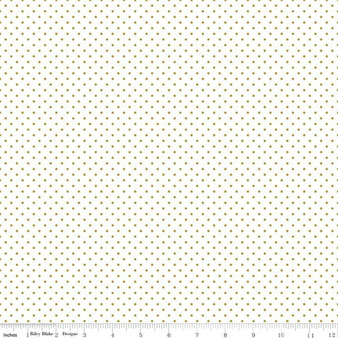 SALE Gold SPARKLE Swiss Dot on White by Riley Blake Designs - Polka Dots Metallic - Quilting Cotton Fabric