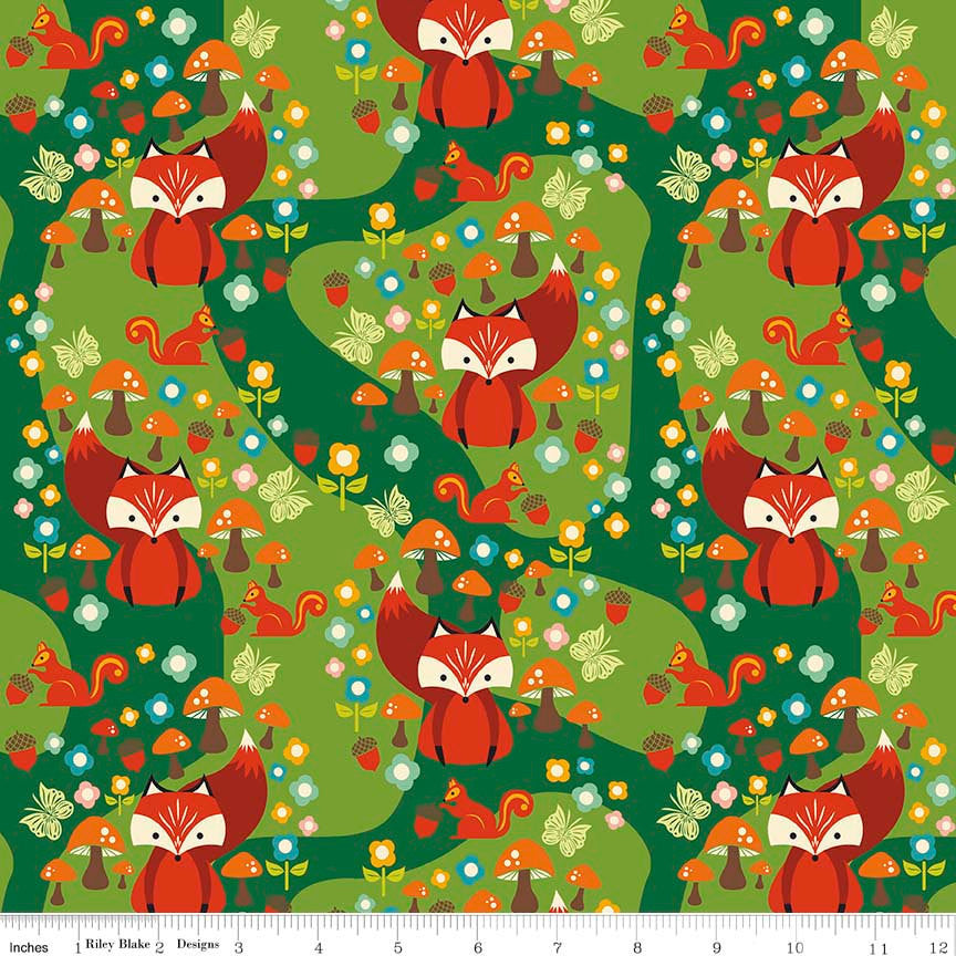 Acorn Valley Main Green by Riley Blake Designs - Foxes - Jersey KNIT cotton lycra spandex stretch fabric