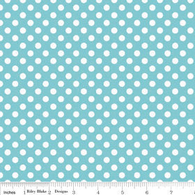 Aqua Small White Dots by Riley Blake Designs - Blue Polka Dots - Quilting Cotton Fabric