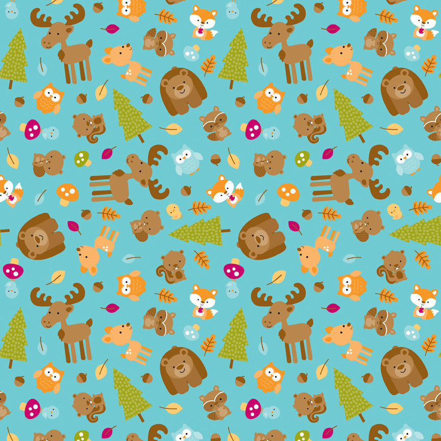 SALE Happy Camper Main Blue by Riley Blake Designs - Camping Bears Fox Moose Deer - Quilting Cotton Fabric - choose your cut