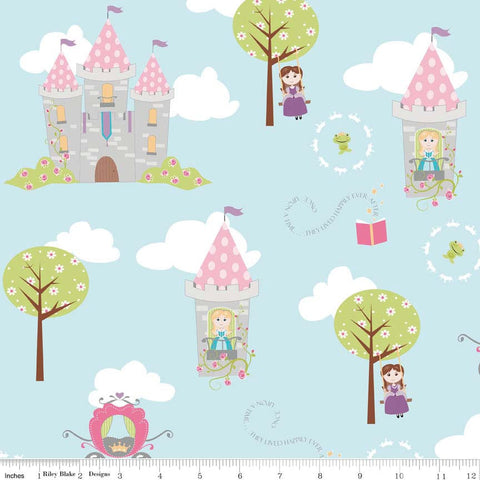 CLEARANCE Dream and A Wish Main Blue by Riley Blake Designs - Princess Girl Castle - Quilting Cotton Fabric - fat quarter