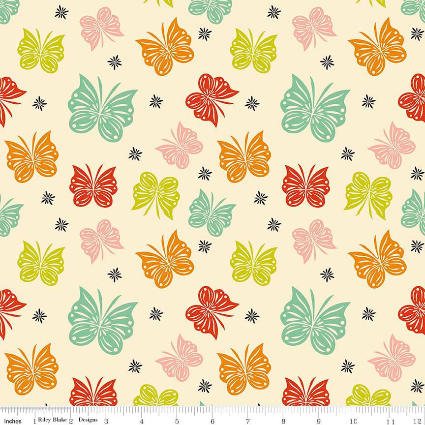 SALE Acorn Valley Flutter Multi by Riley Blake Designs Butterflies Jersey KNIT cotton lycra spandex stretch fabric