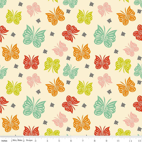 Acorn Valley Flutter Multi by Riley Blake Designs Butterflies Jersey KNIT cotton lycra spandex stretch fabric