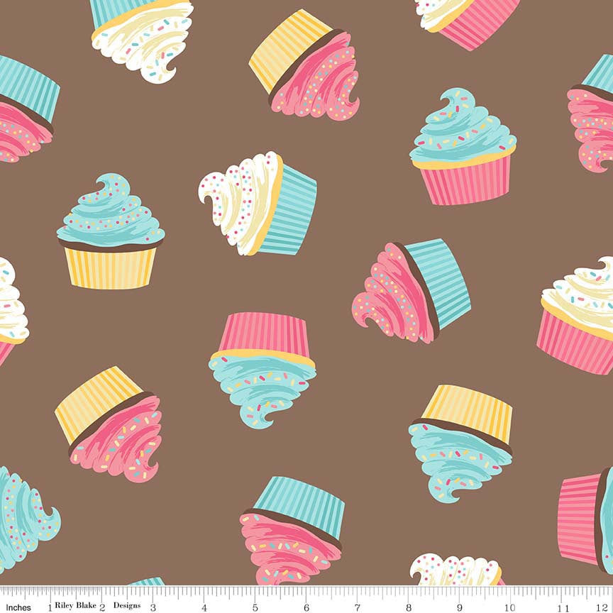 Novelty Cupcakes Brown by Riley Blake Designs - Treats Dessert Food Frosting - Quilting Cotton Fabric - choose your cut