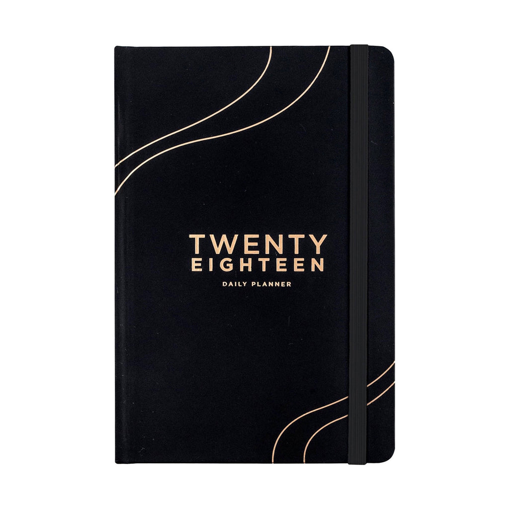 Frank Stationery 2018 Daily Diary Planner Black/Gold