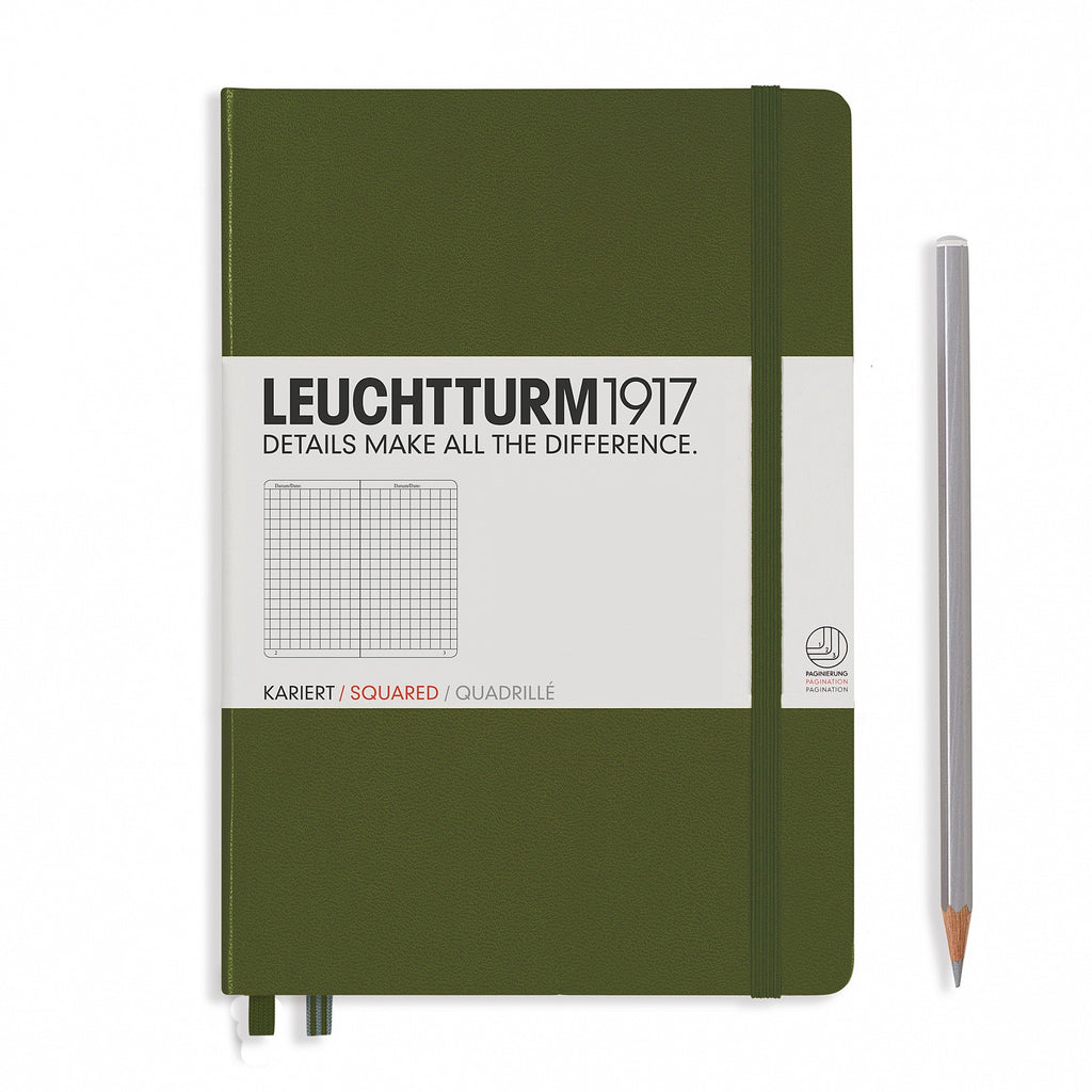 Leuchtturm1917 A5 Notebook Square Grid - Army
