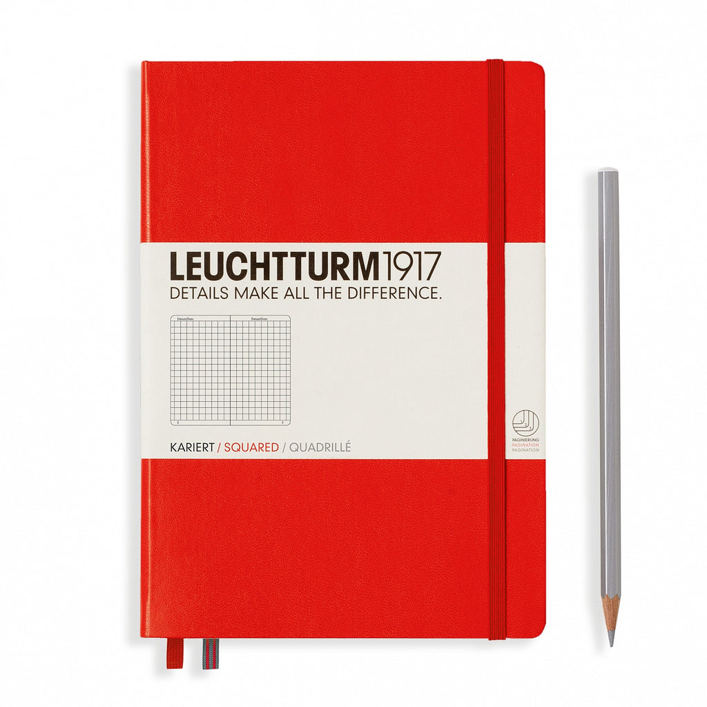 Leuchtturm1917 A5 Notebook - Red square grid