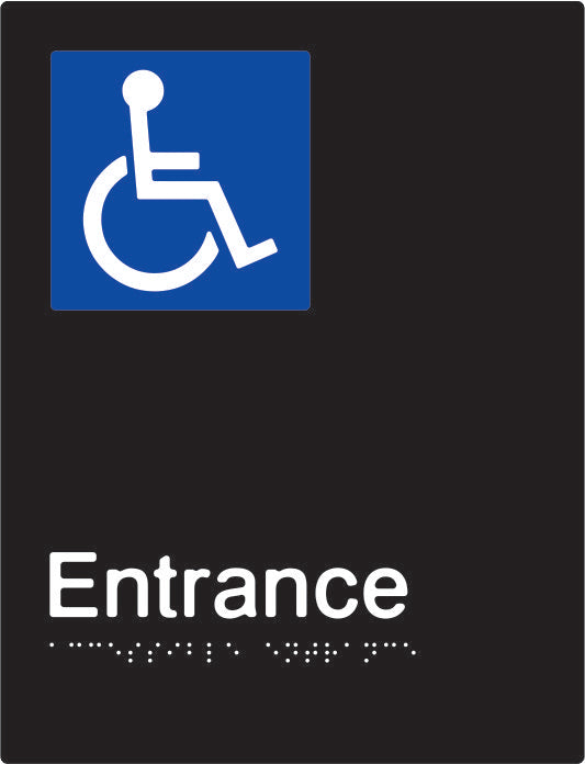 Accessible Entrance Braille and tactile sign (PBABk-AEntrance)