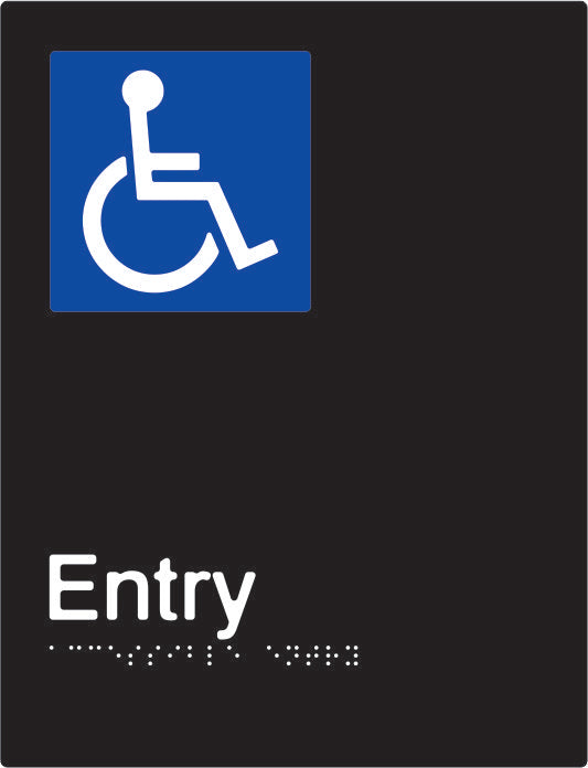 Accessible Entry Braille and tactile sign (PBABk-AEntry)