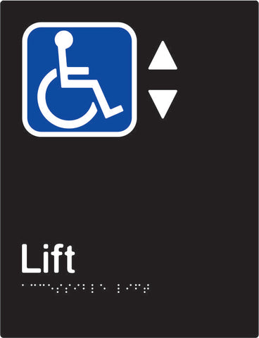 Accessible Lift Braille & tactile sign (PBABk-ALift)