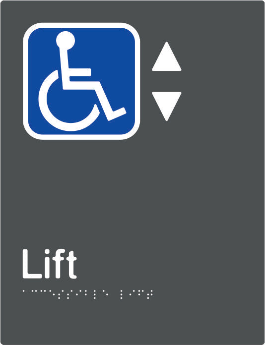 Accessible Lift Braille & tactile sign (PBAGy-ALift)