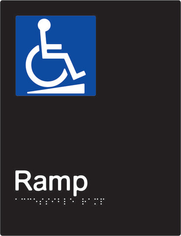 Accessible Ramp Braille and tactile sign (PBABk-ARamp)