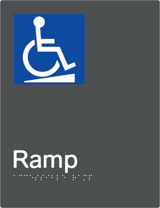 Accessible Ramp Braille and tactile sign (PBAGy-ARamp)