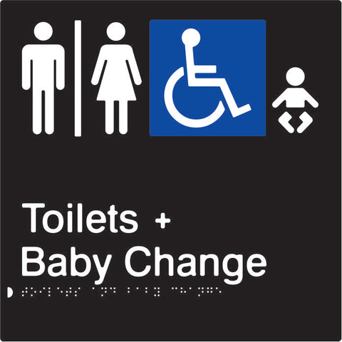 Airlock for Male, Female & Accessible Toilets & Baby Change Braille & tactile sign (PBABk-AUATABC)