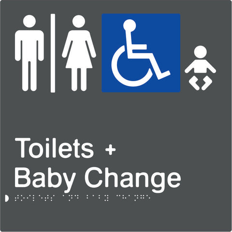 Airlock for Male, Female & Accessible Toilets & Baby Change Braille & tactile sign (PBAGy-AUATABC)