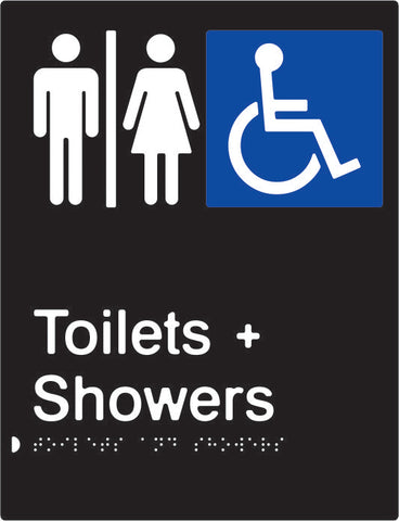 Airlock for Male, Female & Accessible Toilets & Shower Braille & tactile sign (PBABk-AUATAS)