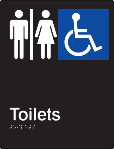 Airlock Male, Female & Accessible Toilets Braille & tactile sign (PBABk-AUAT)