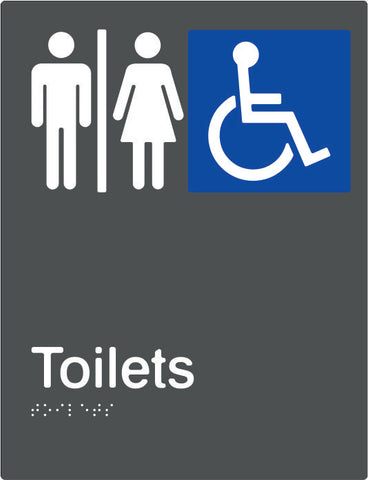 Airlock Male, Female & Accessible Toilets Braille & tactile sign (PBAGy-AUAT)