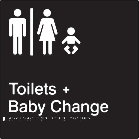 Airlock for Male & Female Toilets & Baby Change Braille & tactile sign (PBABk-AUTABC)