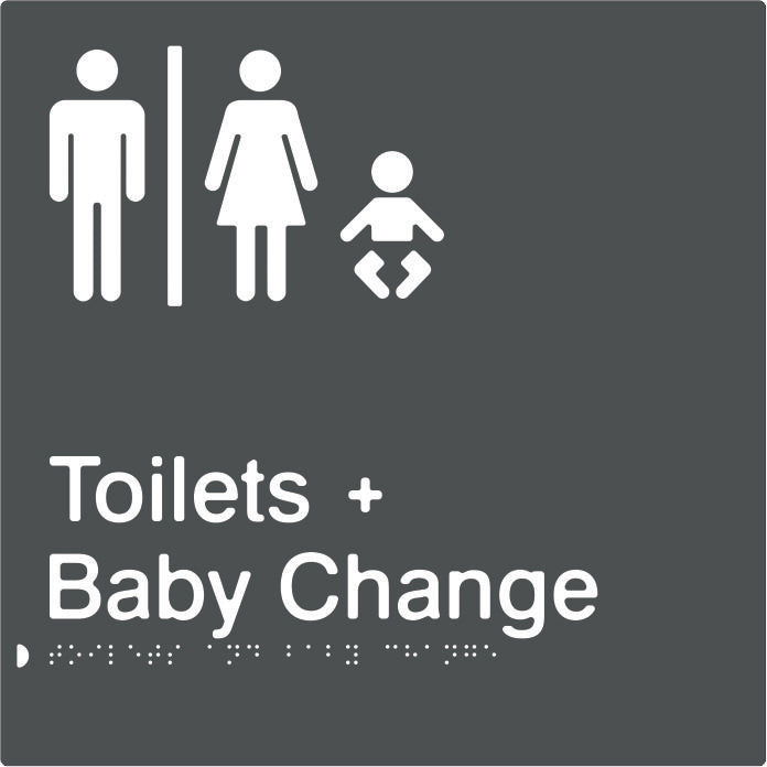 Airlock for Male & Female Toilets & Baby Change Braille & tactile sign (PBAGy-AUTABC)
