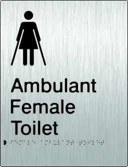 Female Ambulant Toilet Braille & tactile sign (PB-SSFambT)
