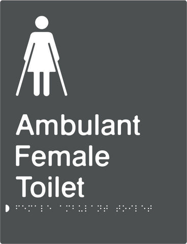 Female Ambulant Toilet Braille & tactile sign (PBAGy-FambT)