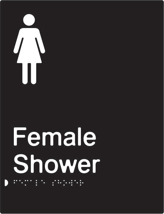 Female Shower Braille & tactile sign (PBABk-FS)
