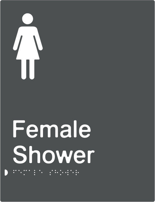Female Shower Braille & tactile sign (PBAGy-FS)