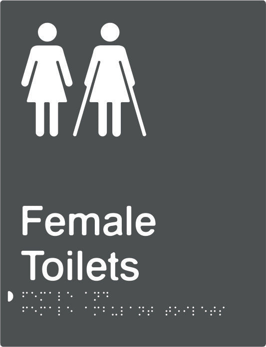 Female & Female Ambulant Toilets Braille & tactile sign (PBA-FTFambT)