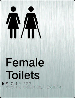 Female & Female Ambulant Toilets Braille & tactile sign (PB-SSFTFambT)