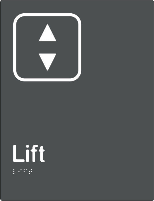 Lift Braille & tactile sign (PBAGy-Lift)