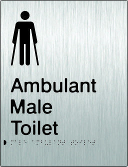 Male Ambulant Toilet Braille & tactile sign (PB-SSMambT)