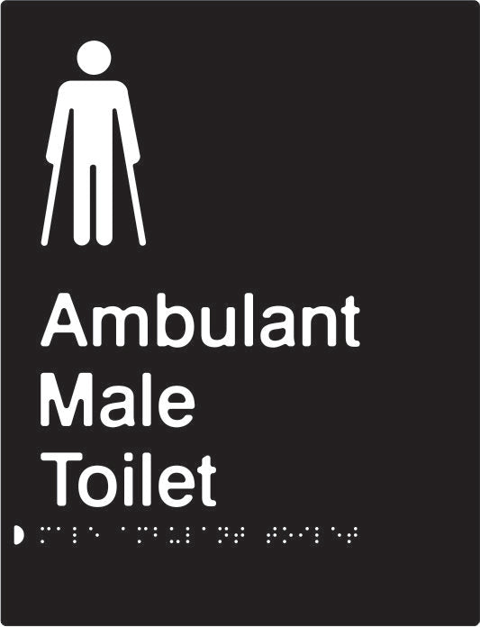 Male Ambulant Toilet Braille & tactile sign (PBABk-MambT)